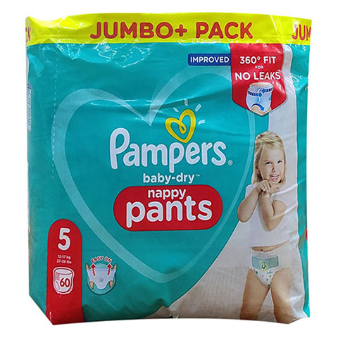 Pampers Baby Dry Nappy Pants Up To 12h 5 (12-17 kg) UK 60 Nappies