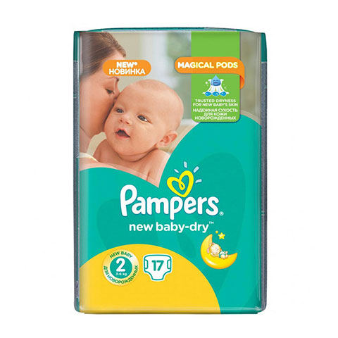 Pampers New Baby Dry Nappies 2 (3-6 kg) 17 Nappies