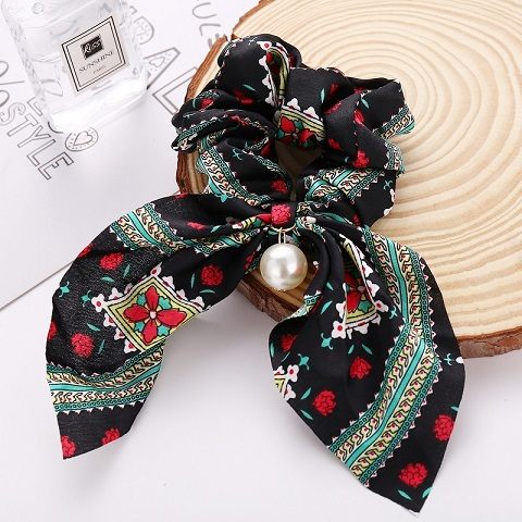 Pearl Pendant Bow knot Large Intestine Hair Tie - Black (20130)