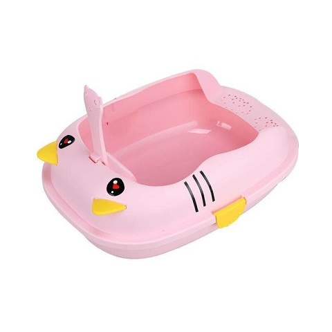 Pet Cat Hello KItty Open Large Plastic Litter Box - Pink (20225)