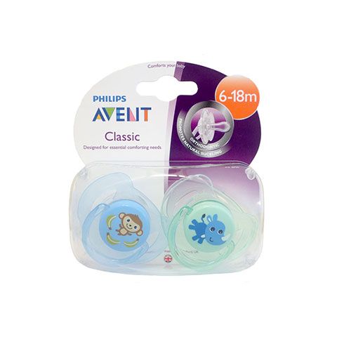 Philips Avent Classic Soother Twin Pack 6-18m - Monkey & Rhino