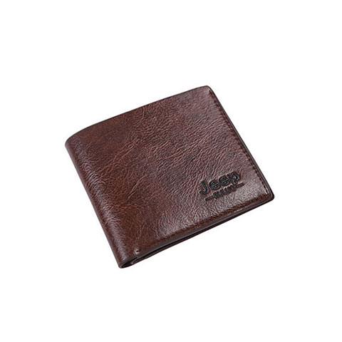 Short Casual Soft Leather Men's Wallet - Chocolate