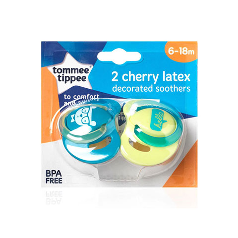 Tommee Tippee 2 Cherry Latex Decorated Soother 6-18m - Paste & Yellow