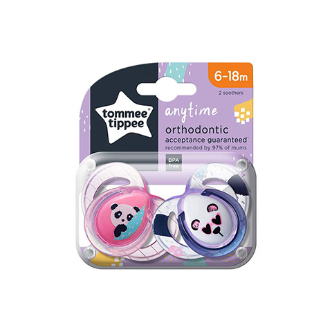 Tommee Tippee Anytime Orthodontic 6-18m Soother 2pc - Pink & Purple