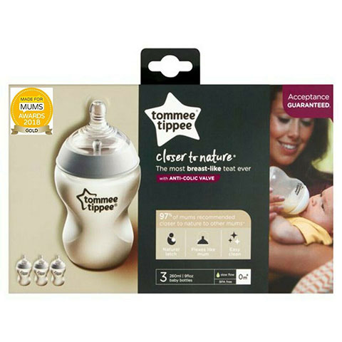 Tommee Tippee Closer To Nature Anti - Colic Bottle 0m+ 260ml - 3pk