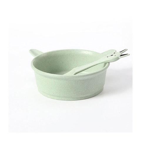 Wheat Straw Cartoon Cat Bowl Spoon Set - Green