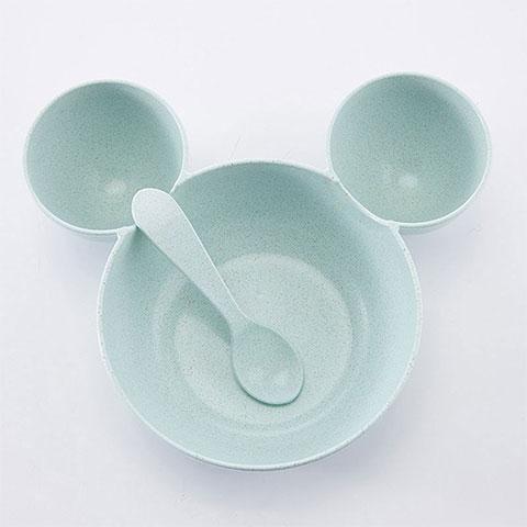 Wheat Straw Children's Tableware Bowl - Blue