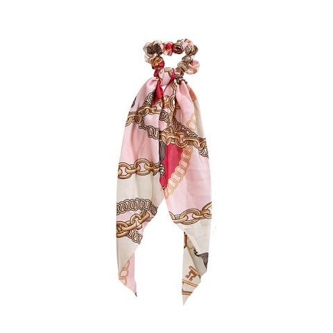 Womens Long Silk Cloth Ponytail Scrunchies Hair Tie - 44 Pink