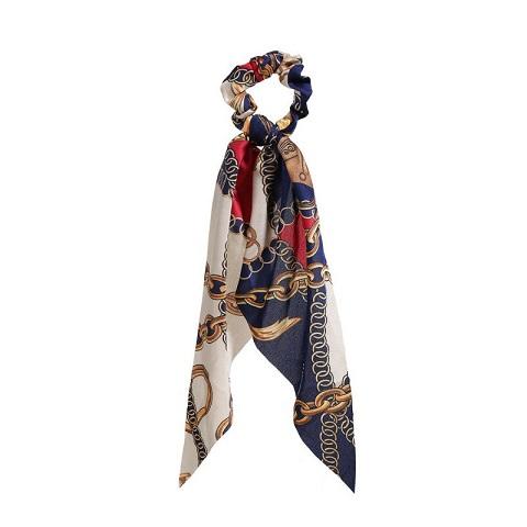 Womens Long Silk Cloth Ponytail Scrunchies Hair Tie - 99 Blue