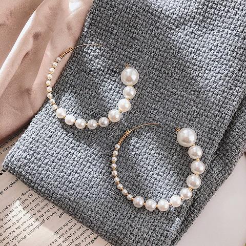 Women's Simple C Shaped Pearl Stud Earrings - 01