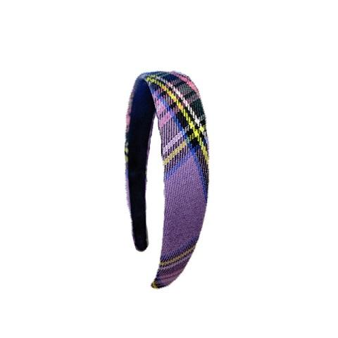 Women's Vintage Plaid Headband - Purple