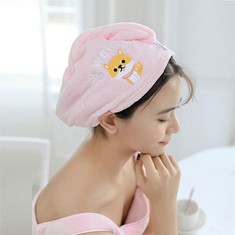 Women's Water Absorbent Quick-Drying Hair Towel - Pink Cat