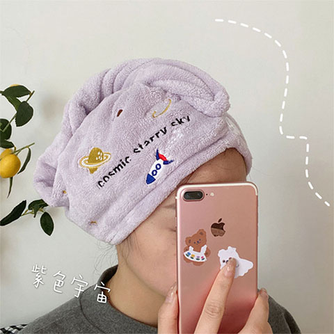 Women's Water Absorbent Quick-Drying Hair Towel - Purple Rocket