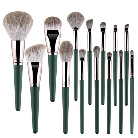 Wooden Handle Makeup Brush Set 14pcs - Cloud Green (20101)