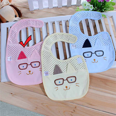 Yi Daier Baby Cat with Eyes Cartoon Waterproof Bib - Pink