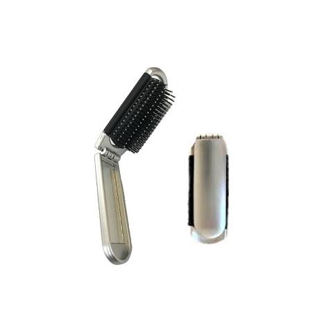 Zazie Folding Hair Brush With Mirror - Silver